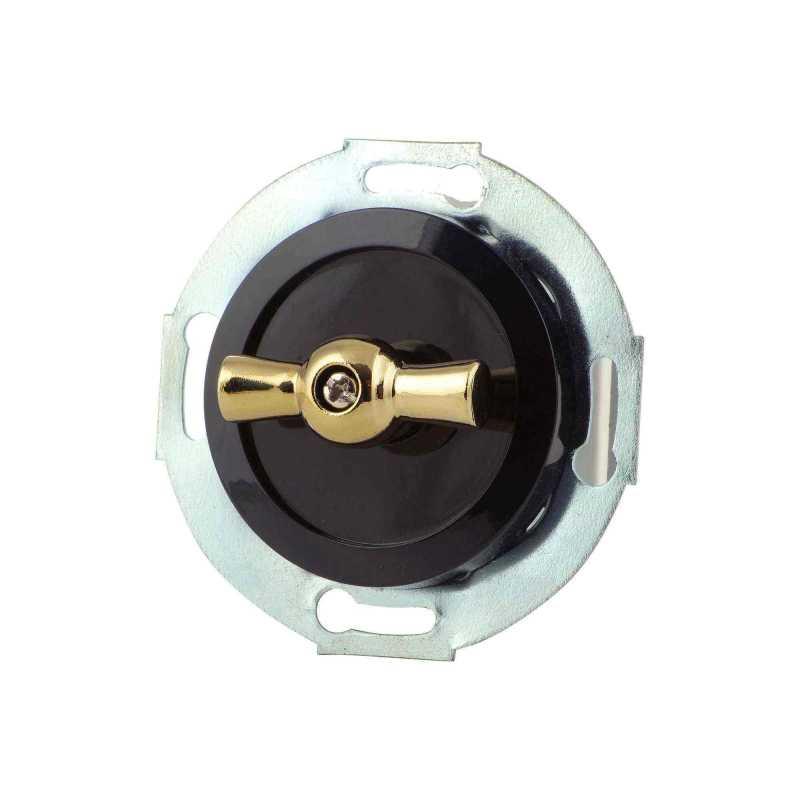 880705-1 Выкл 1кл, проходной, поворотный 10 A, 250 B   чёрный/золото