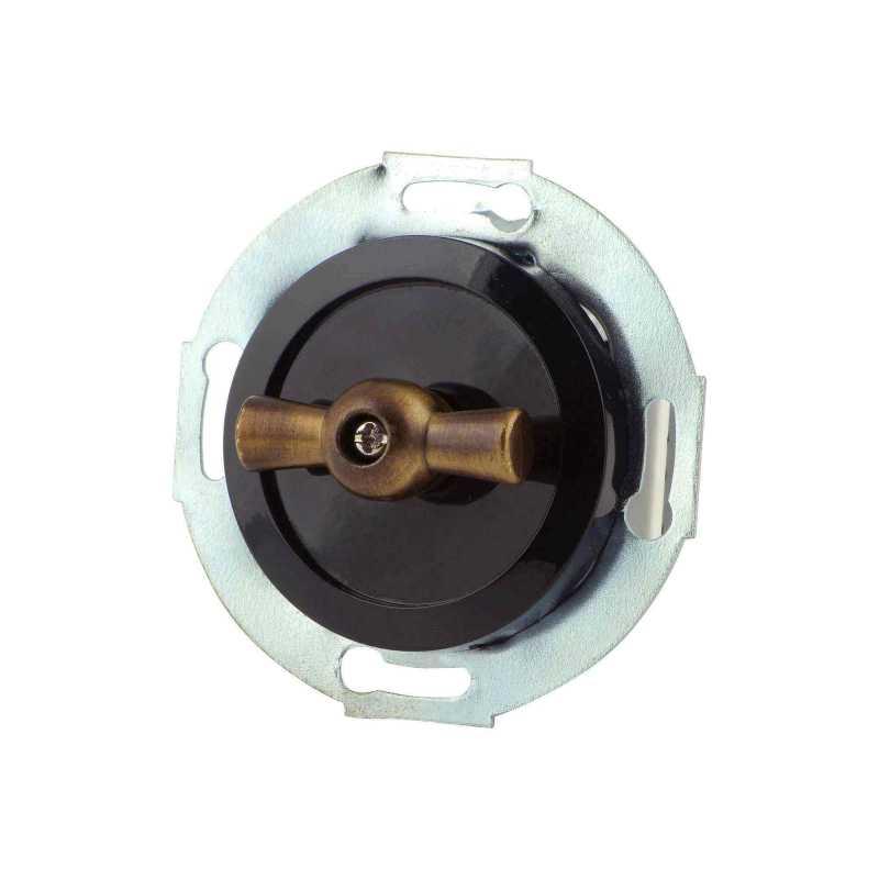 880705-2 Выкл 1кл, проходной, поворотный 10 A, 250 B  чёрный/бронза