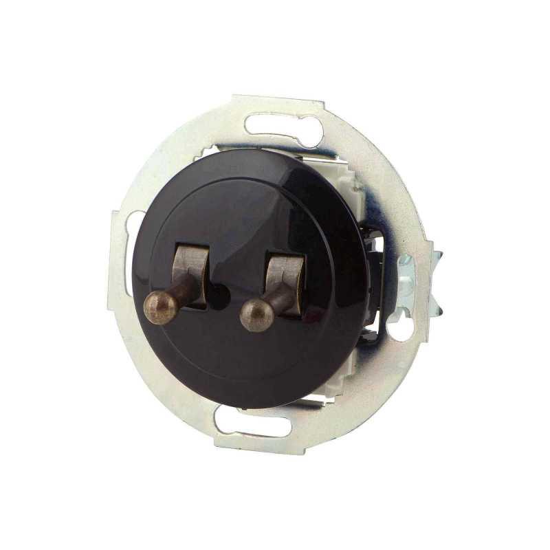 882408-2 Выкл 2кл, тумблерный, проходной 10 A, 250 B чёрный/бронза