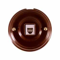 Розетка телефонная RJ 11, коричневый, золотистая фурнитура, РТКЗ