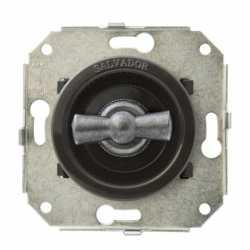 """Ретро выключатель перекрестный, коричневый/""""состаренное серебро"""", CL31BR.SL Salvador"""