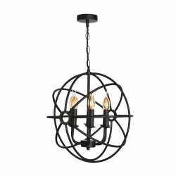 Винтажный светильник потолочный SUN-2 D450 E14 Черный 057-981