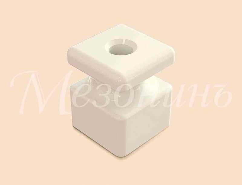 Изолятор фарфоровый квадратный размеры: 20х20х25мм МезонинЪ, цвет - белый, GE80025-01