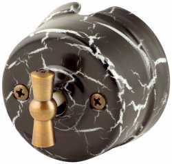 Ретро выключатель двухклавишный, черный мрамор, OP21BLM Salvador