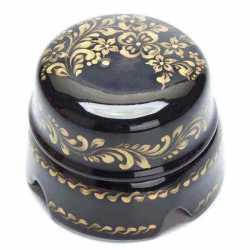BOX2BL.GD Распаечная коробка большая D85, черный с золотой росписью