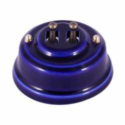 Ретро выключатель двухклавишный, лазурный, тумблер бронза Leanza, ВР2ЛБ