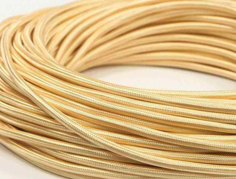 Interior Wire Провод однажильный ПВХ, в полиэфирной оплетке, ПДК 2х0.75 Золото шелк