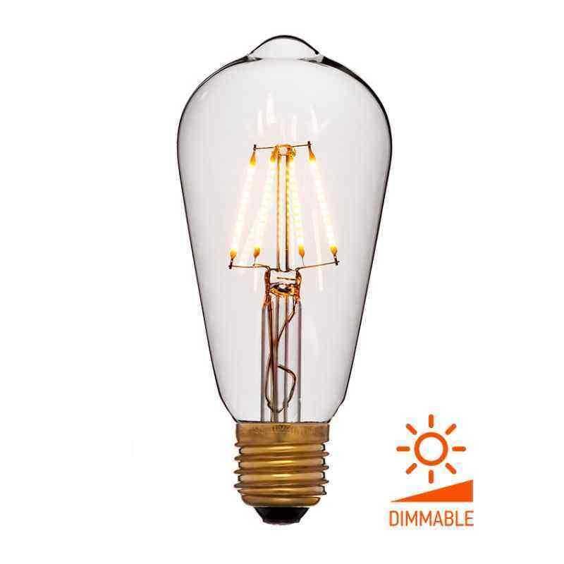Лампа 64x142 Диммируемая; Без мерцания; Прозрачная; E27, 1800K, 400Lm, 4W, 240V 056-755